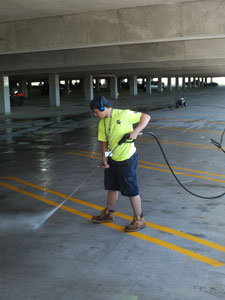 Power Washing of Ramp Garage at ROC